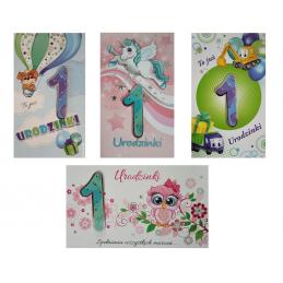 Karnet na 1 urodzinki mix...
