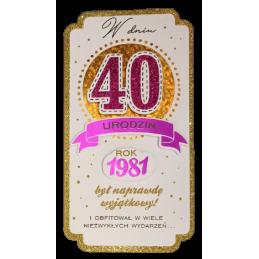 Karnet PM na 40 urodziny...